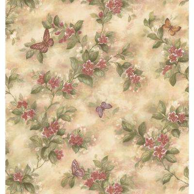 Kitchen Bath Bed Resource III Neutral Butterfly Floral Wallpaper Sample