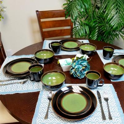 Bella Galleria 16-Piece Green and Black Dinnerware Set