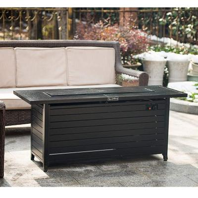 56 in. x 23 in. Rectangular Fire Pit Table in Hammered Black