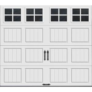 Clopay gallery collection 8 ft x 7 ft 12 9 r value intellicore insulated white garage door for 12 x 8 garage door