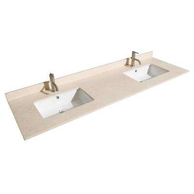Natalie 72 in. W x 22 in. D Marble Double Basin Vanity Top in Beige with White Basin