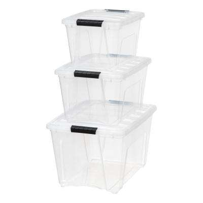 19 Qt., 31.75 Qt., and 54 Qt. Stack and Pull Storage Box in Clear