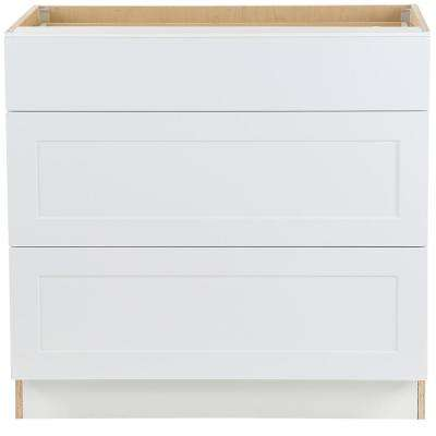 Cambridge Assembled 36x34.5x24.5 in. Base Cabinet with 3-Soft Close Drawers in White
