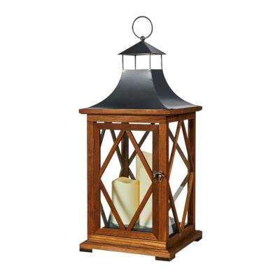 Portland 22 in. Triple LED Candle Wooden Lantern
