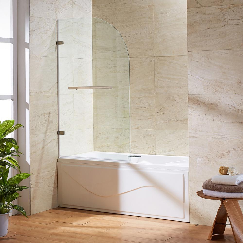 frameless curved pivot tubshower door