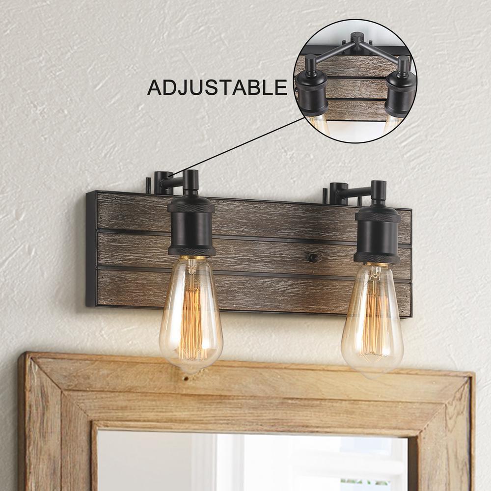 Adjustable 2-Light Farmhouse Vanity Light Antique Wood Bath Bar Light With Dark Brown Finish
