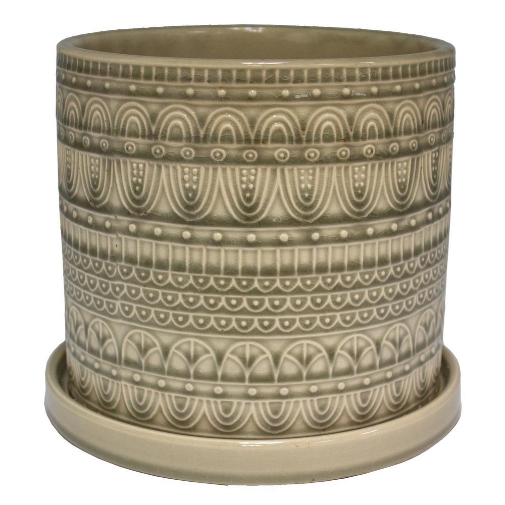 8 in. Greige Seven Seas Ceramic Cylinder Planter