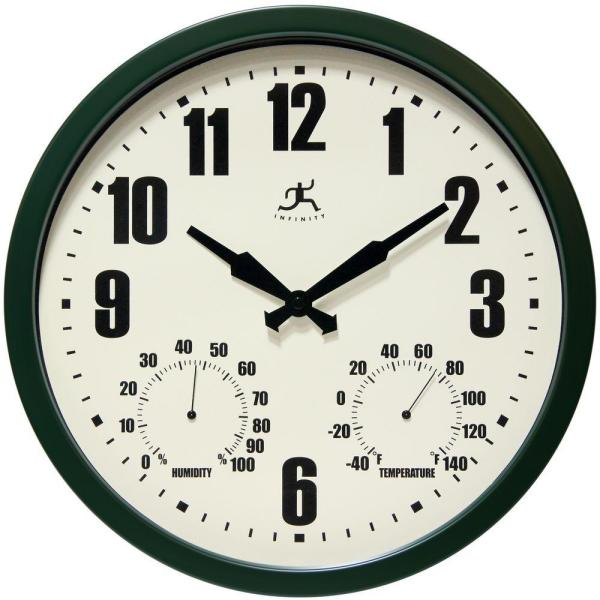 Infinity Instruments-Patio Green 14 in. W x 14 in. L Round Outdoor Wall Clock