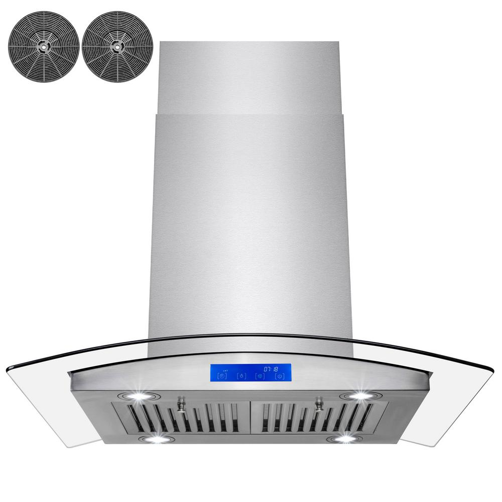 30 in. Convertible Kitchen Island Range Hood in Stainless Steel with