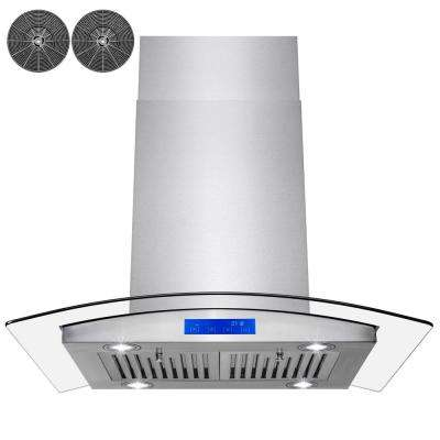30 in. Convertible Kitchen Island Range Hood in Stainless Steel with Tempered Glass LEDs and Carbon Filters