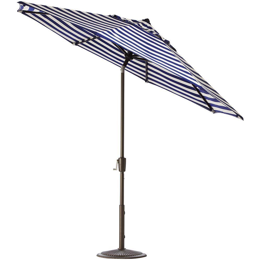 7.5 ft. Auto-Tilt Patio Umbrella in Maxim Riviera Sunbrella with Bronze Frame