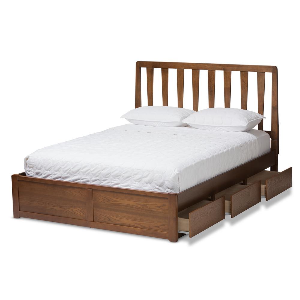 Raurey Walnut Brown King Platform Bed