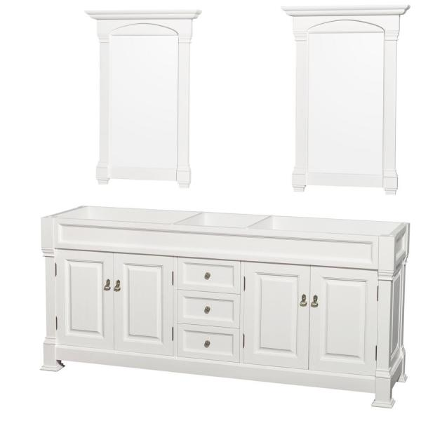 Andover 80 in. W x 22.25 in. D Bath Vanity Cabinet Only with Mirrors in White