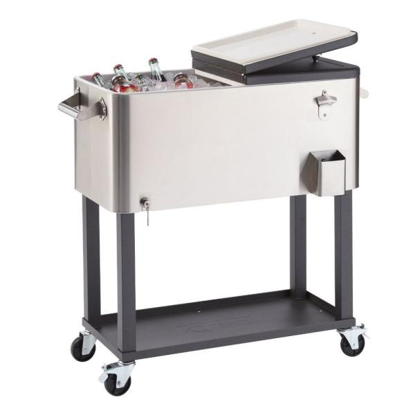 Trinity - 100 Qt./25 Gal. Stainless Steel Wheeled Cooler with Shelf