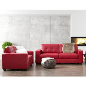 CorLiving Club 2-Piece Tufted Red Bonded Leather Sofa Set ...