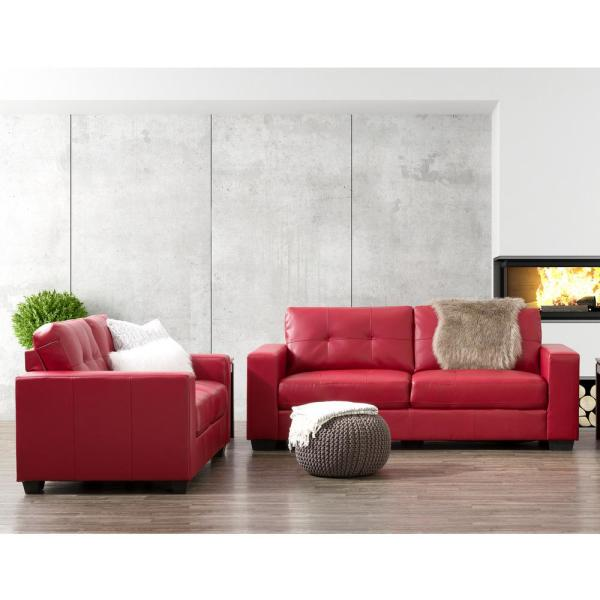 CorLiving Club 2-Piece Tufted Red Bonded Leather Sofa Set