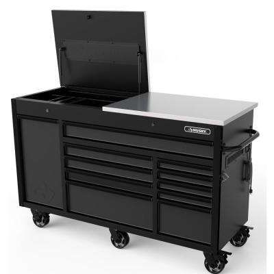 63 in. W x 23 in. D 11-Drawer Mobile Workbench with Flip-Top Work Surface