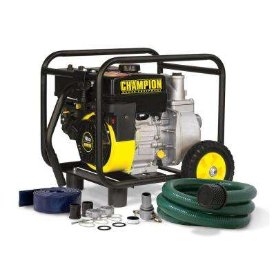 6.5 HP 2 in. Gas-Powered Semi-Trash Water Transfer Pump with Hose and Wheel Kit
