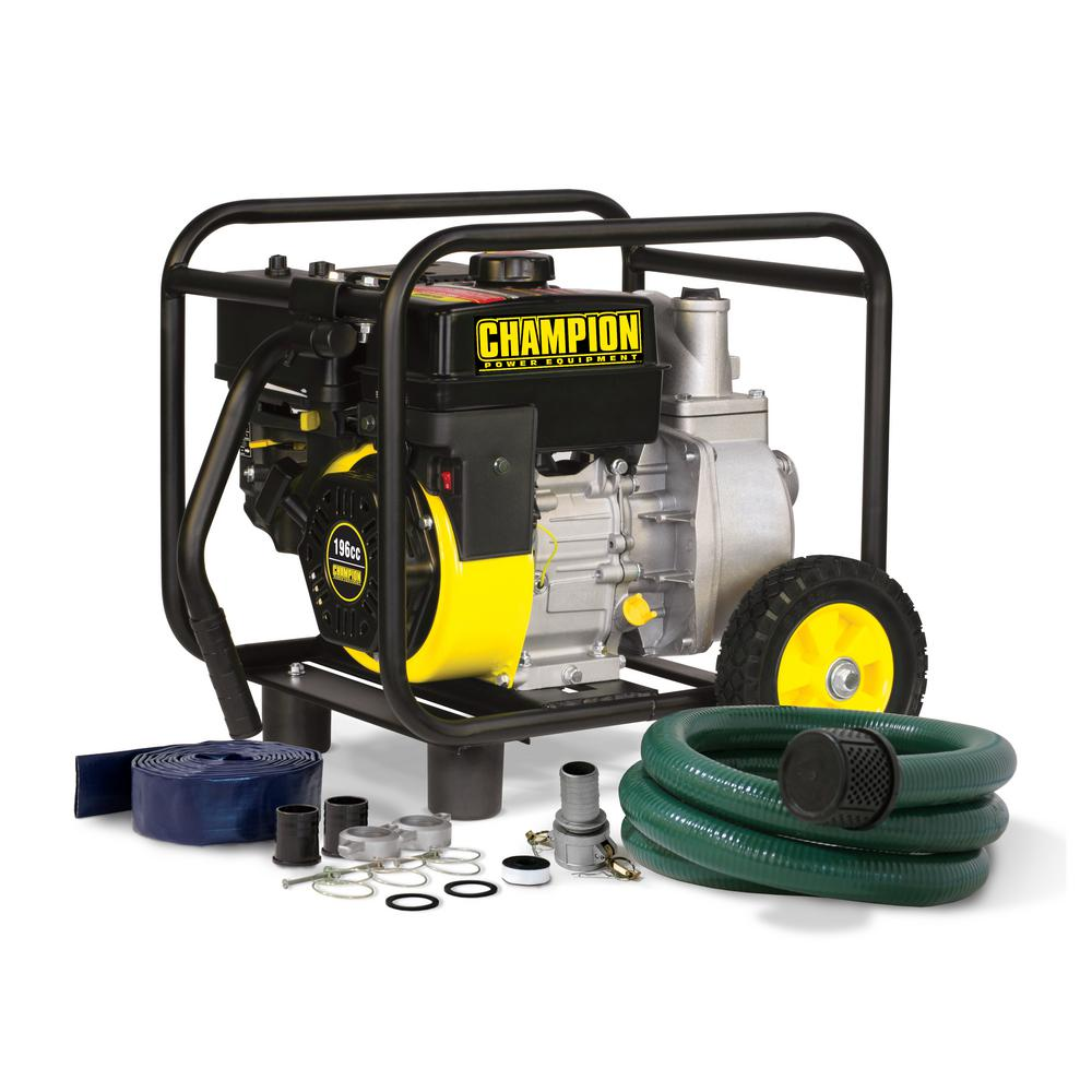 Champion Power Equipment 2 in. Gas-Powered Semi-Trash Water Transfer Pump with Hose and Wheel Kit
