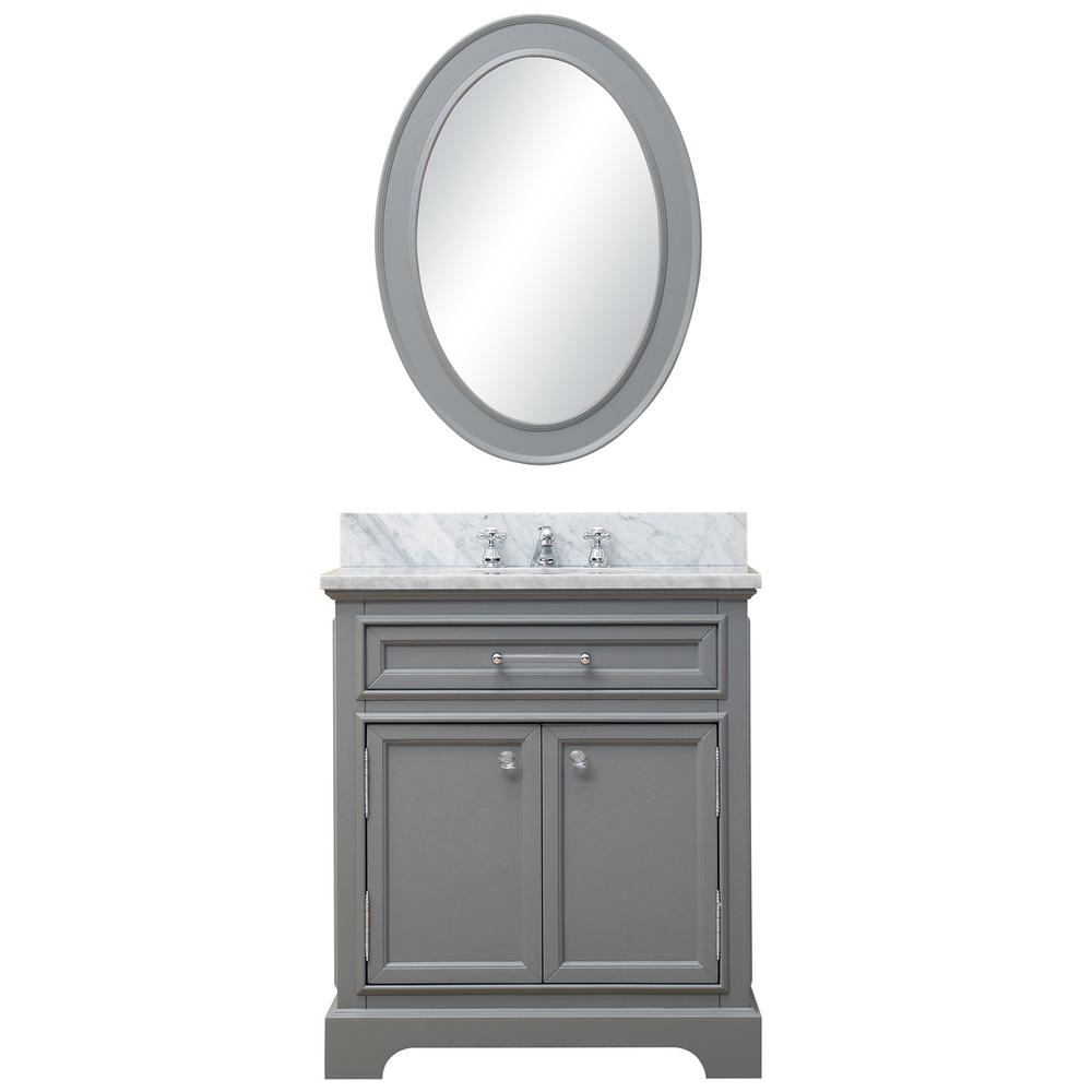 Water Creation 30 in. W x 21.5 in. D Vanity in Cashmere Grey with Marble Vanity Top in Carrara White, Mirror and Chrome Faucet