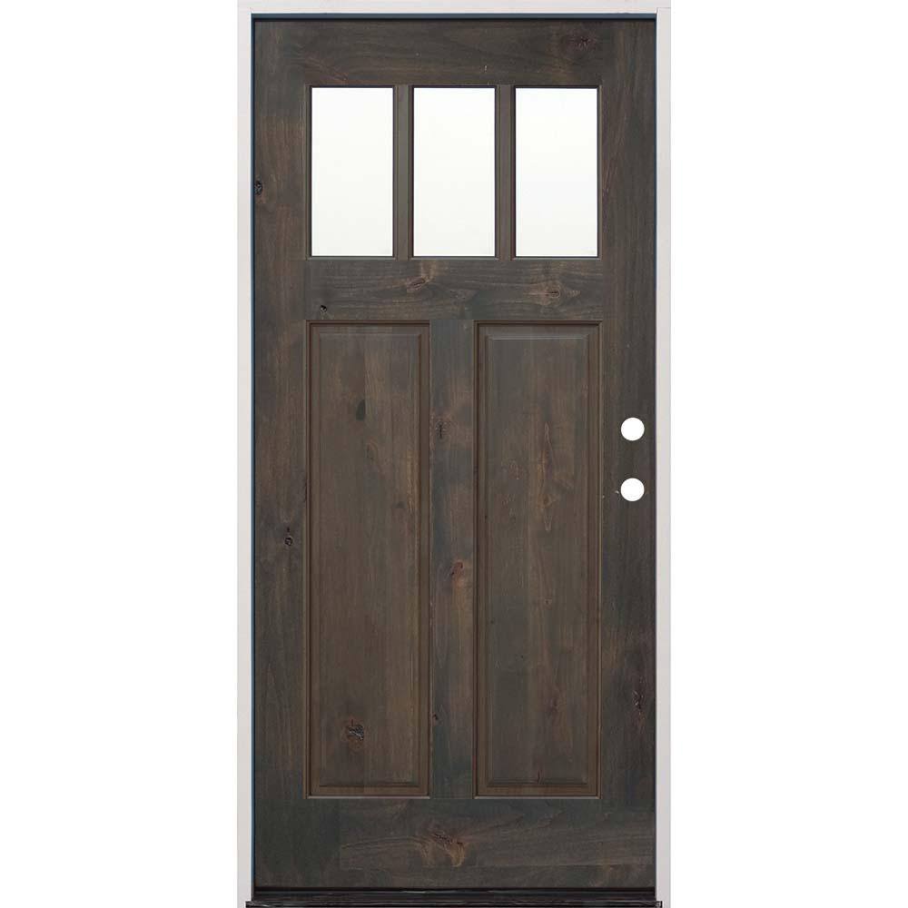36 in. x 80 in. Craftsman Stained Ash Alder Left Hand Inswing Wood Prehung Front Door
