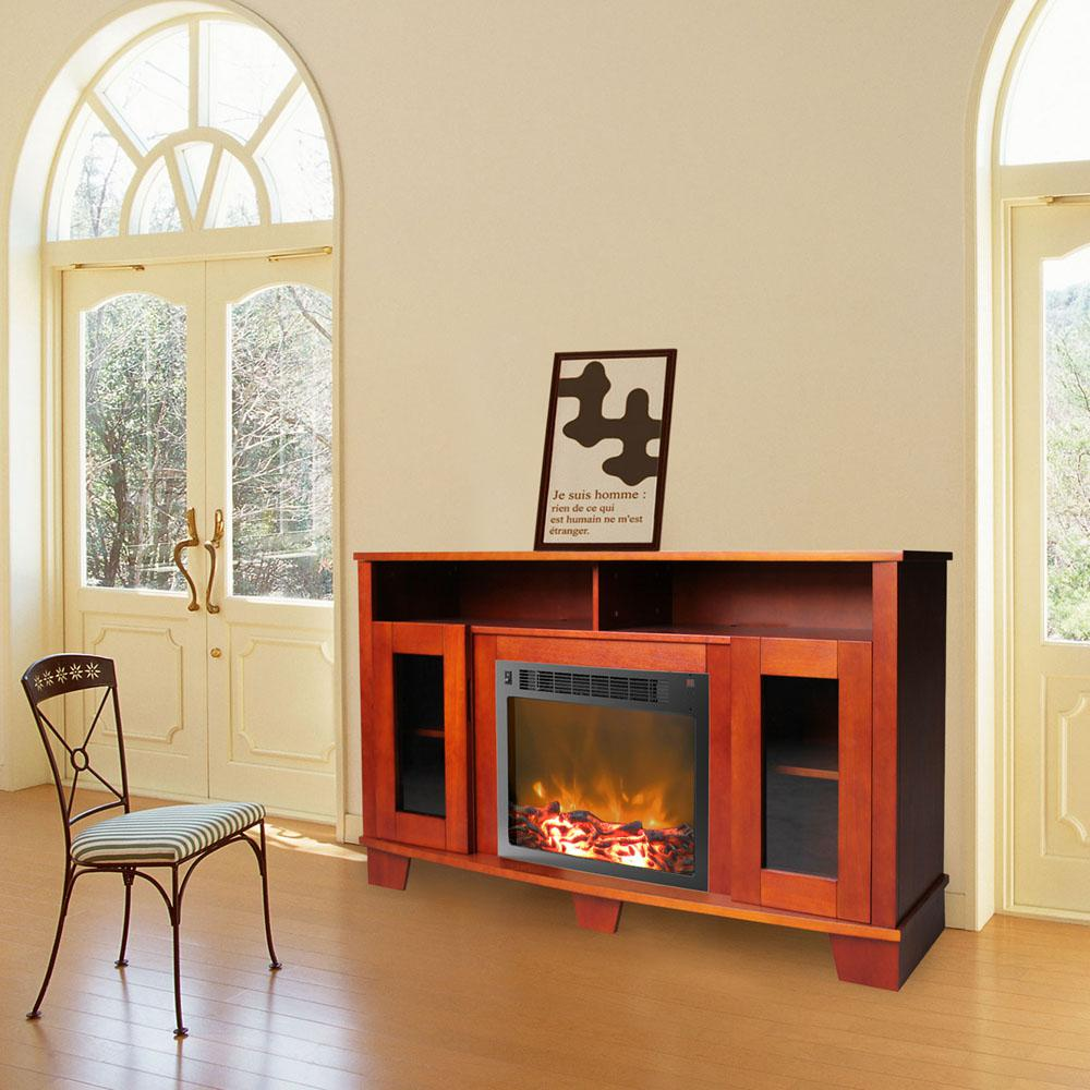 Savona 59 in. Cherry (Red) Electric Fireplace Mantel with...