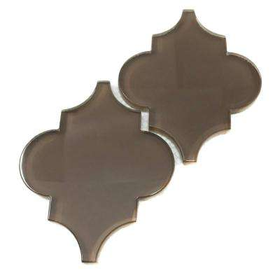 Classic Brown Arabesque 4 in. x 5 in. x 8mm Glass Backsplash and Wall Tile (0.16 sq. ft. / each)