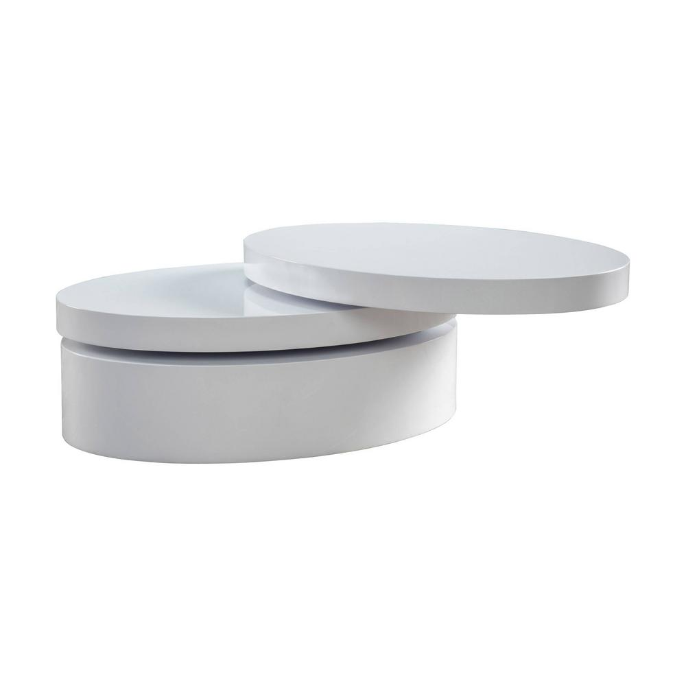 Bon Noble House Alan Glossy White Small Oval Rotatable Coffee Table