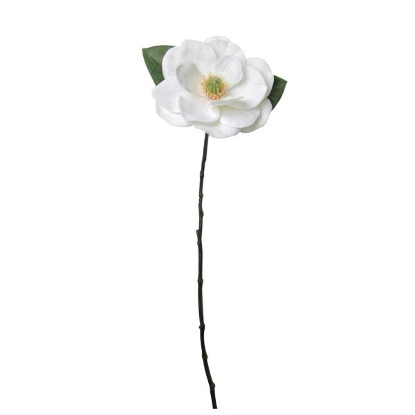 31 in. White and Green Artificial Magnolia Christmas Stem Decor