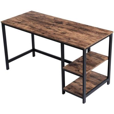 55 in. W Brown Industrial Writing Desk Computer Table with 2-Shelves