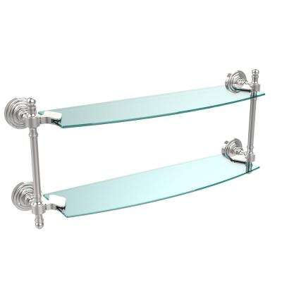 Retro Wave Collection 18 in. Two Tiered Glass Shelf in Polished Chrome