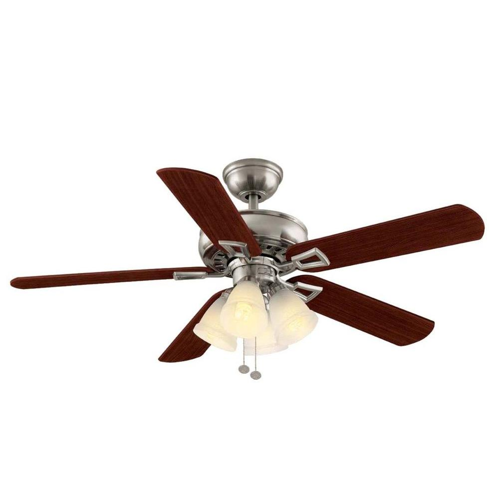 hamptonbay Hampton Bay Lyndhurst 52 in. Indoor Brushed Nickel Ceiling Fan with Light Kit