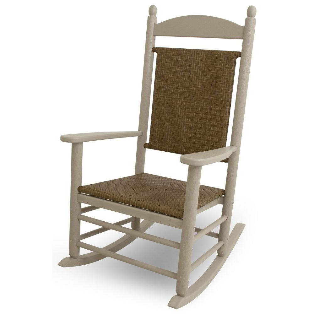 Jefferson Sand Woven All-Weather Plastic Outdoor Rocker with Tigerwood Weave