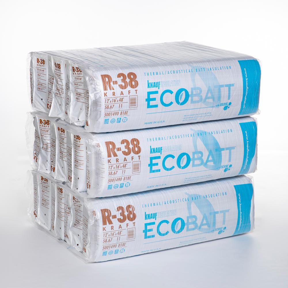 R-38 EcoBatt Kraft Faced Fiberglass Insulation Batt 16 in. x 48 in. (12-Bags)