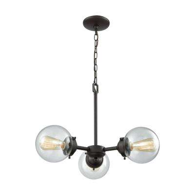 Beckett 3-Light Oil Rubbed Bronze Chandelier With Clear Glass Shades