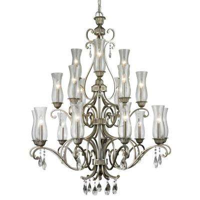 Havana 18-Light Antique Silver Chandelier