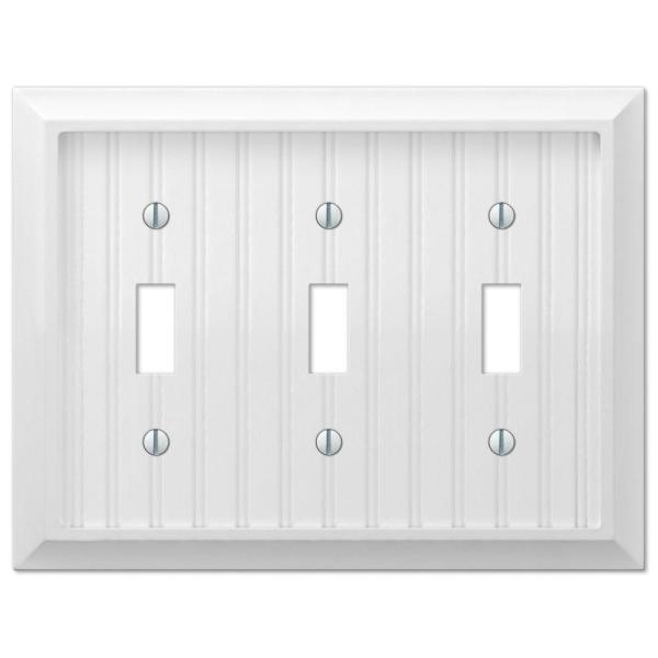 Cottage 3 Gang Toggle Composite Wall Plate - White