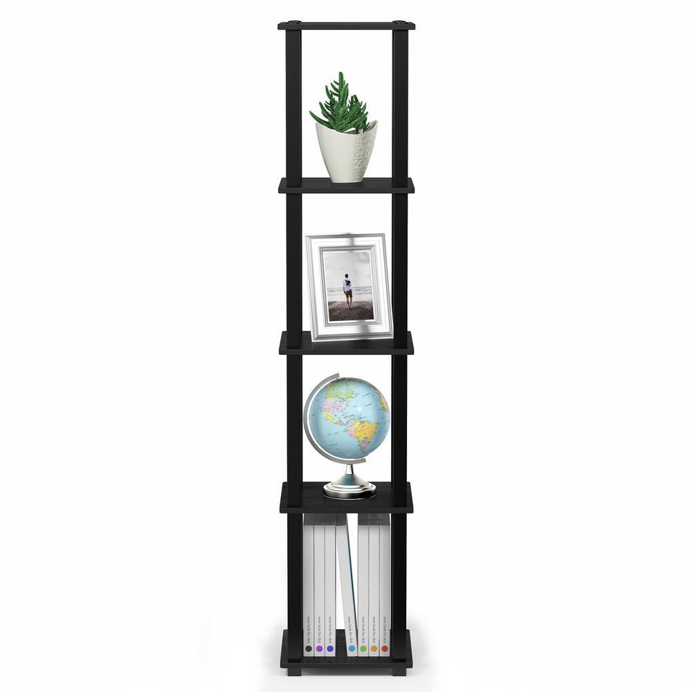 Turn-S-Tube Americano/Black 5-Tier Corner Square Rack Display Shelf with Square Tube