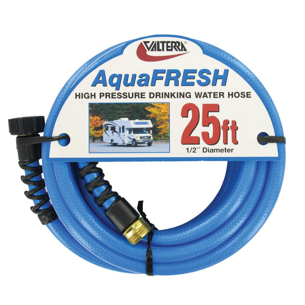 Valterra Aquafresh High Pressure Drinking Water Hose With Hose Savers 1 2 X 25 Blue W01 8300 The Home Depot