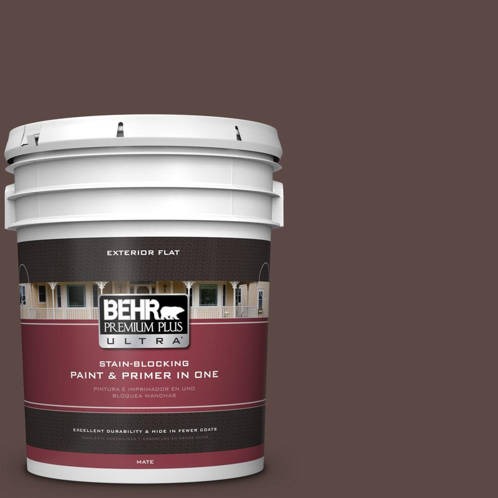 5 gal. #MQ1-58 Chocolate Soul Flat Exterior Paint and Primer in