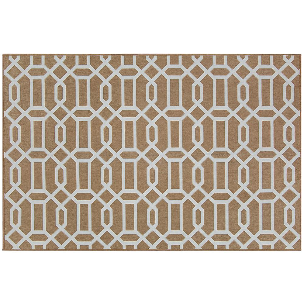 Ruggable Washable Modern Fretwork Rich Tan 3 ft. x 5 ft. Stain Resistant Accent Rug