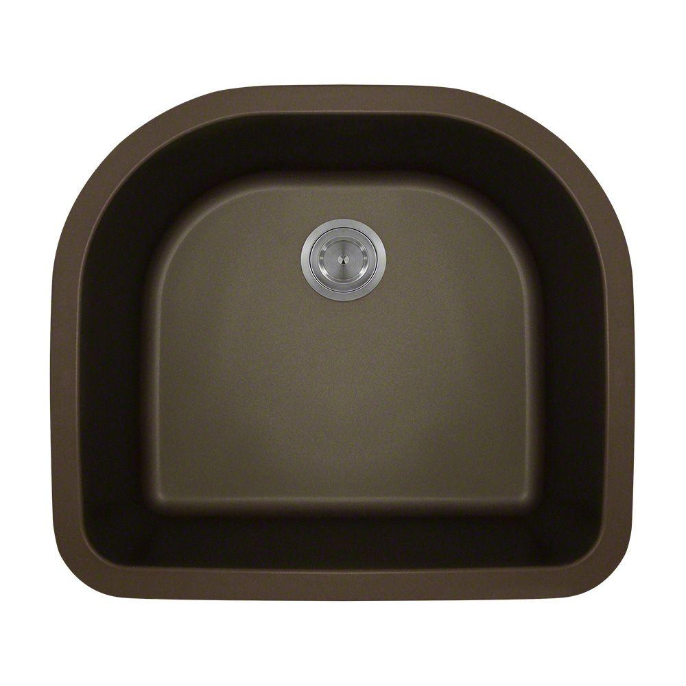 Polaris Sinks Undermount Granite 25 In. Single Bowl Kitchen Sink In Mocha