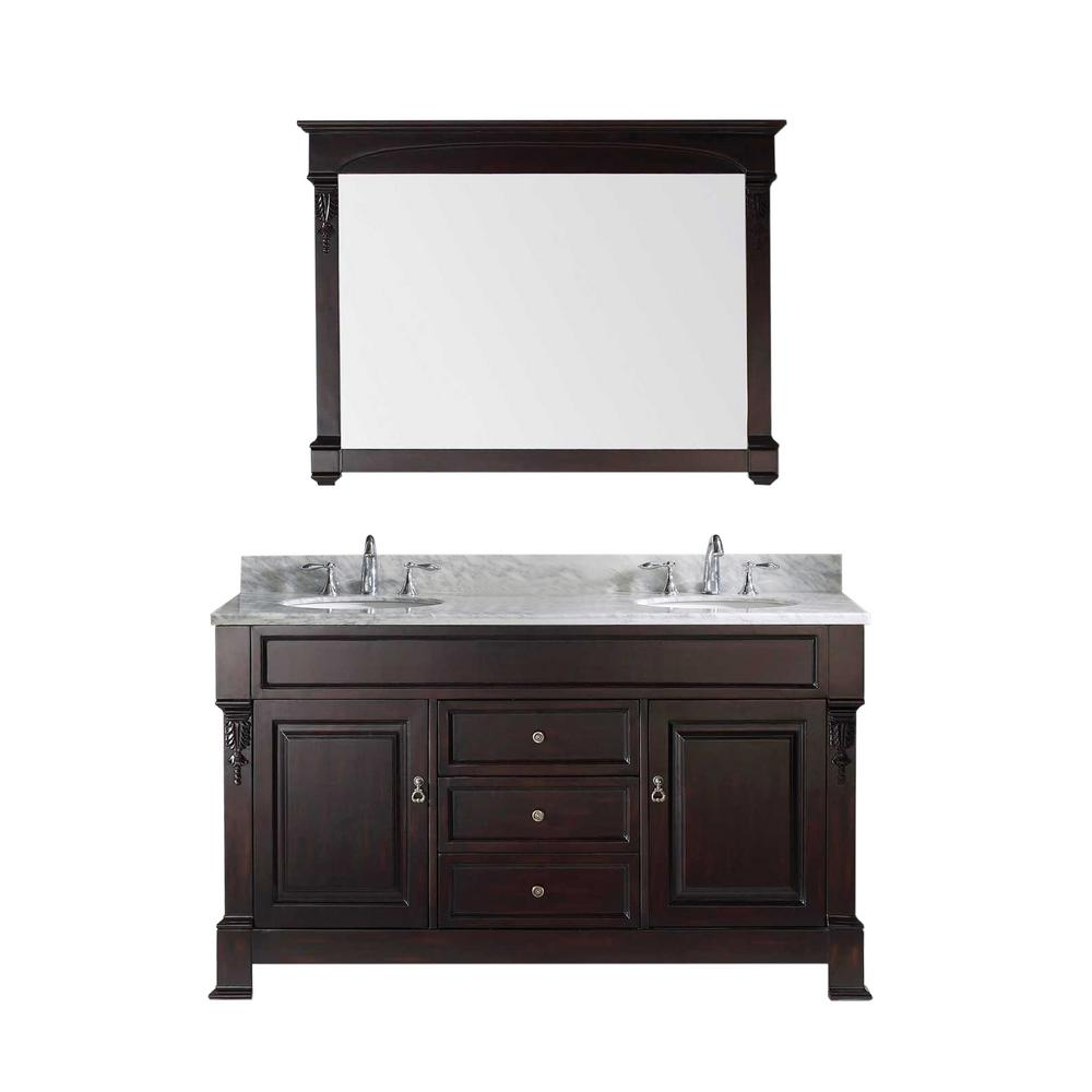 Virtu USA Huntshire 60 in. W x 22.05 in. D x 33.86 in. H Dark Walnut Vanity With Marble Vanity Top With White Basin and Mirror