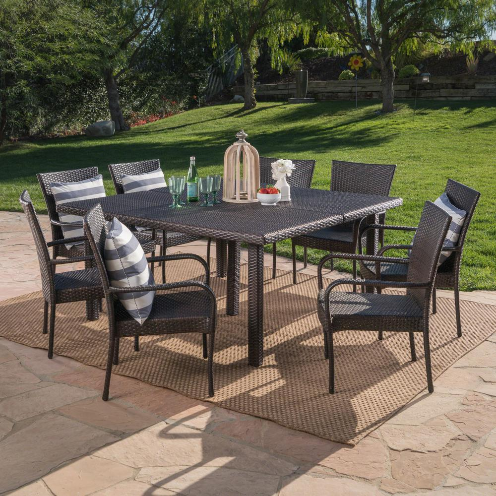 Noble House Multi-Brown 9-Piece Wicker Square Outdoor Dining Set