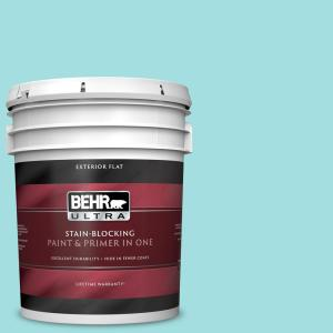 Behr Ultra 5 Gal Ce 02 Mermaid Tears Flat Exterior Paint And Primer In One 485005 The Home Depot