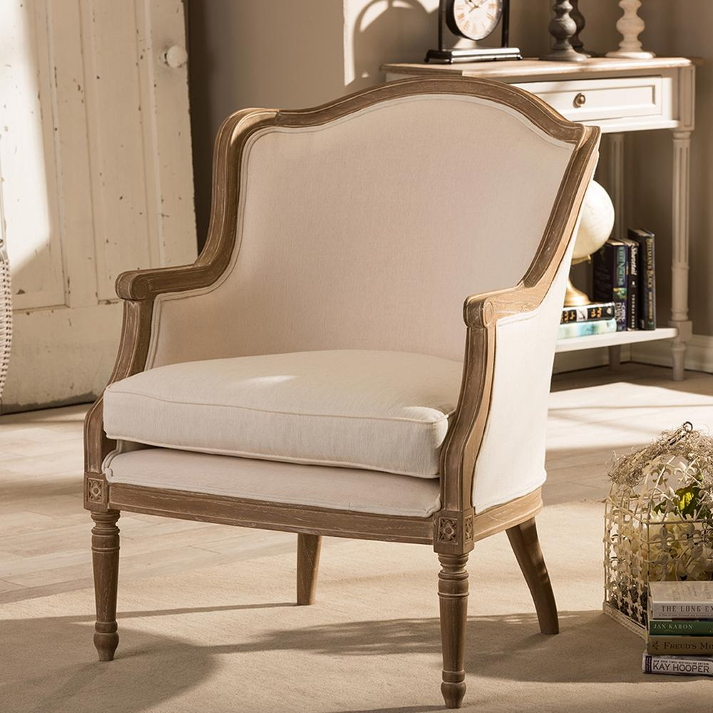 Baxton Studio Charlemagne Beige And Brown Fabric Upholstered Accent