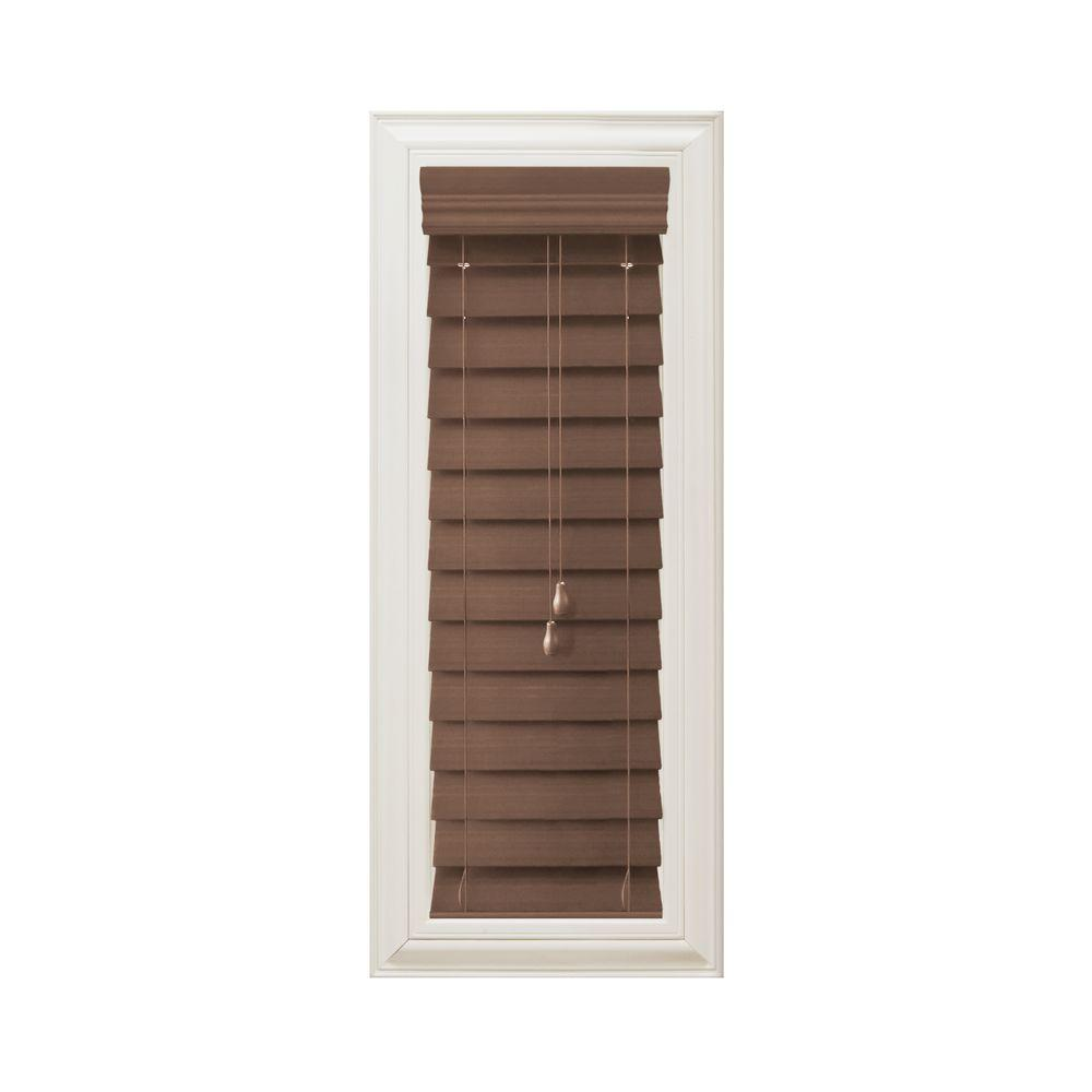 Maple 2-1/2 in. Premium Faux Wood Blind - 10 in. W