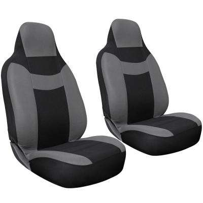 Polyester Seat Covers Set 26 in. L x 21 in. W x 48 in. H 2-Piece Seat Cover Set Gray and Black
