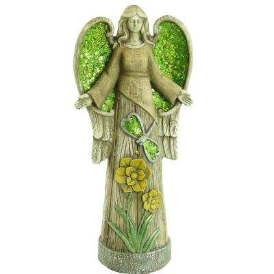 24 in. Angel Statue with Green Glitter Mosaic WIngs