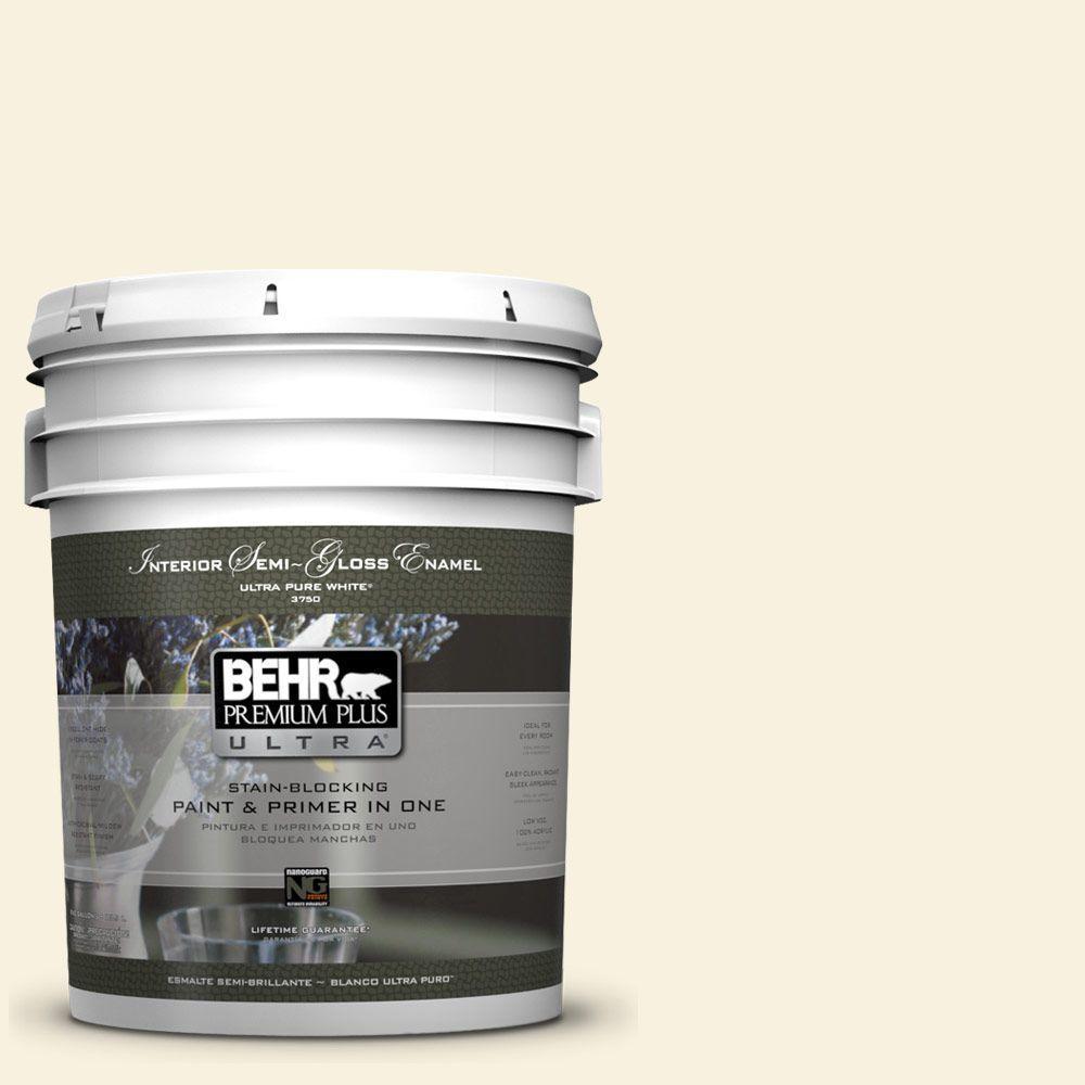BEHR Premium Plus Ultra 5-gal. #340C-1 Powder Sand Semi-Gloss Enamel Interior Paint